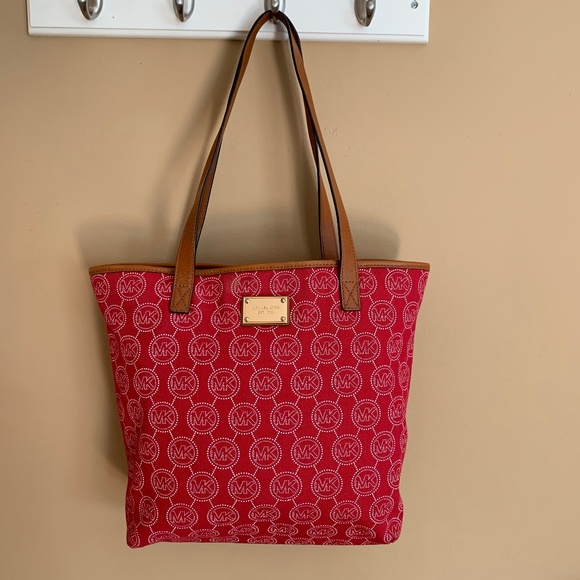 Michael Kors Handbags - Michael Kors Red Monogram Tote Bag Purse Cloth MK